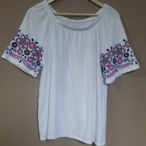 Talbots White Embroidered Off The Shoulers, XL